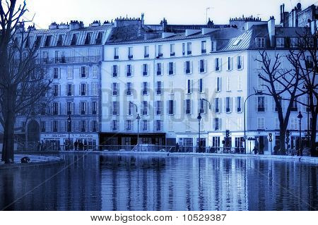 Paris in blue along the Canal St Martin