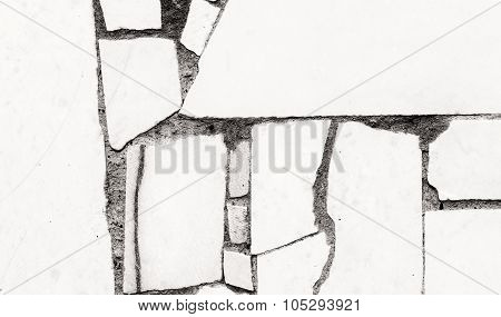 Tiled Wall Abstract In Black And White Deco