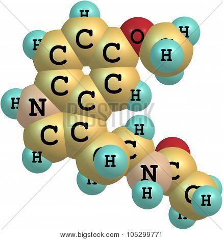 Molecule of Melatonin isolated on white