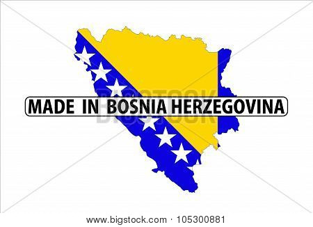made in bosnia herzegovina country national flag map shape with text poster
