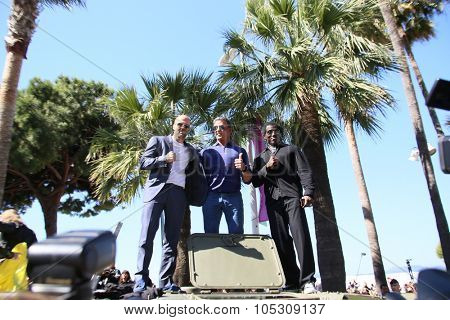 CANNES, FRANCE - MAY 18: Dolph Lundgren, Harrison Ford, Mel Gibson, Sylvester Stallone, Wesley Snipes attend a photocall for 'The Expendables 3' at the Carlton Hotel on May 18, 2014 in Cannes, France.