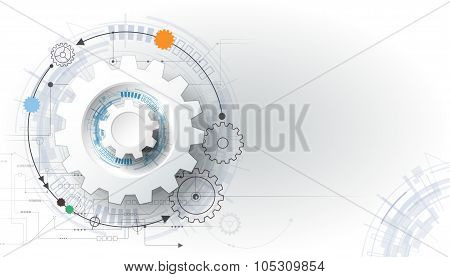Vector Illustration Gear Wheel And Circuit Board