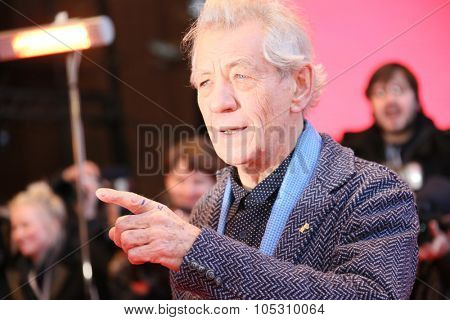 BERLIN, GERMANY - FEBRUARY 08: Ian McKellen attends the 'Mr. Holmes' premiere during the 65th Film Festival at Berlinale Palace on February 8, 2015 in Berlin, Germany.
