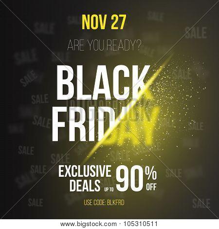 Black Friday Sale Vector Exlosion Poster Template. Huge November