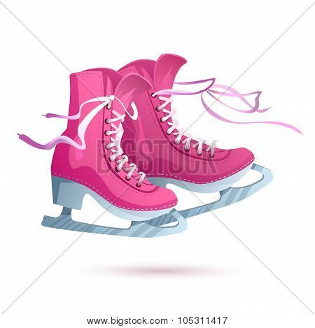 Ice Skates Vector Isolated On White Background