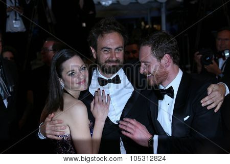 Michael Fassbender, Marion Cotillard and Director Justin Kurzel  attend the 'Macbeth' Premiere during the 68th annual Cannes Film Festival on May 23, 2015 in Cannes, France.
