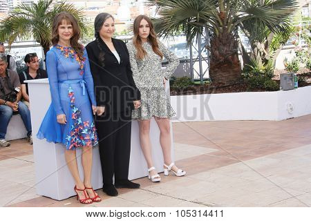 Actresses Sarah Sutherland, Robin Bartlett and Nailea Norvind attend the 'Chronic' Photocall during the 68th annual Cannes Film Festival on May 22, 2015 in Cannes, France.