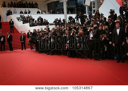 Photographer attends the Premiere of 'Irrational Man' during the 68th annual Cannes Film Festival on May 15, 2015 in Cannes, France.