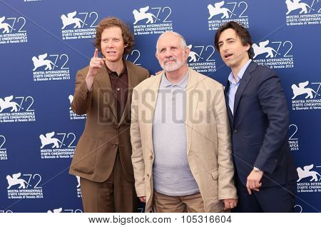 Venice, Italy - 09 September 2015: Jake Paltrow, Brian De Palma and Noah Baumbach attend a photocall for 'De Palma' And 'Jaeger-LeCoultre Glory To The Filmmakers 2015 Awards' - 72 Venice Film Festival