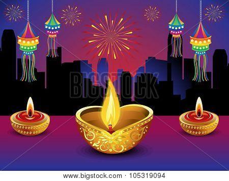 Artistic Detailed Diwali Night Background