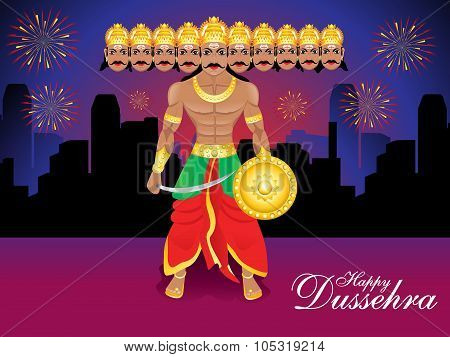 Happy Dussehra Background With Ravan