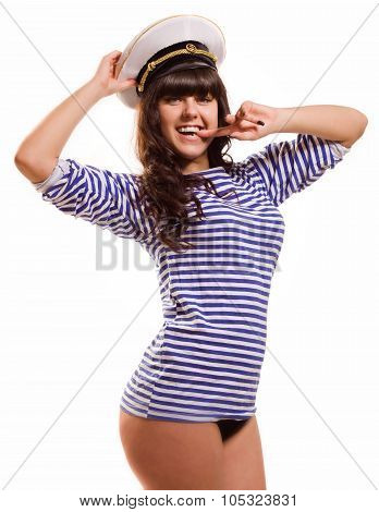 Beautiful navy pinup girl wearing sailor top and admirals hat poster
