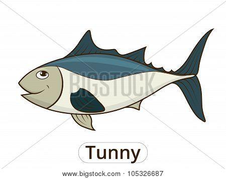 Tunny sea fish cartoon illustration for children