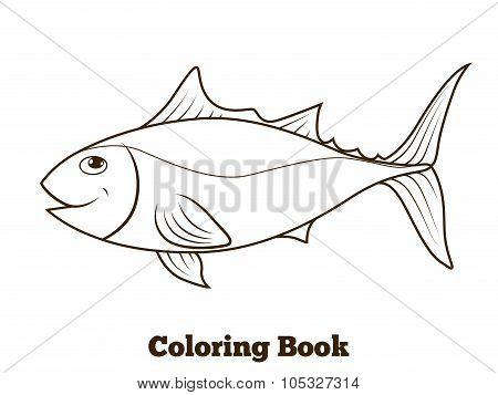Coloring book tunny fish cartoon educational