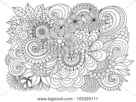 Hand Drawn Zentangle Floral Background For Coloring Page