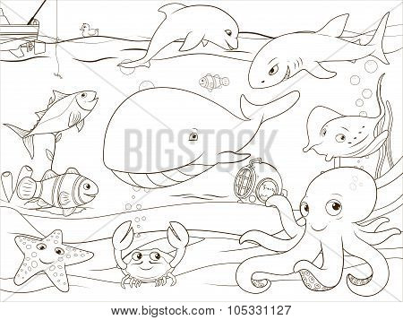 Educational game coloring book underwater life