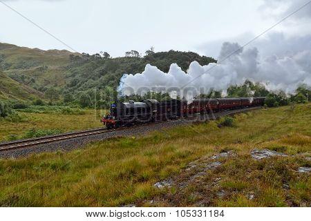 The Jacobite steam travells through Scottish Highland