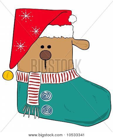 Illustration of a Christmas stocking reindeer with red hat. poster