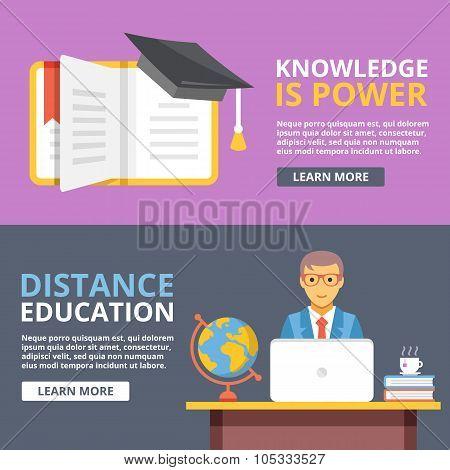 Knowledge is power, distance education flat illustration concepts set