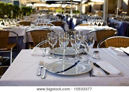 Restaurant Table Prepared For Dinner