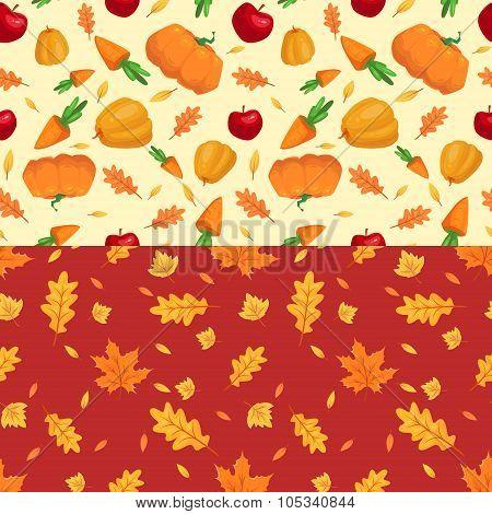 Autumn seamless patterns. Fall leaves. Vector illustration.