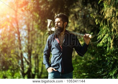 Man With Axe Outdoor