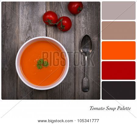 Tomato soup over old wood background. In a colour palette with complimentary colour swatches.