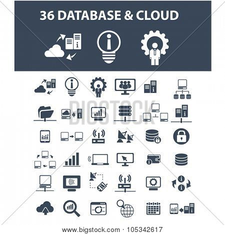 database, cloud, hosting icons