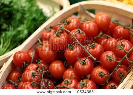 Lug-boxes Of Cherry Tomatoes Parsley And Dill