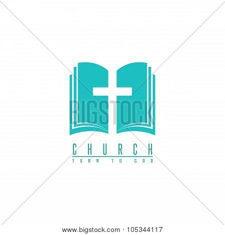 Church Logo, Cross And Abstract Bible Religion Symbol, Design Element For Faith Icon
