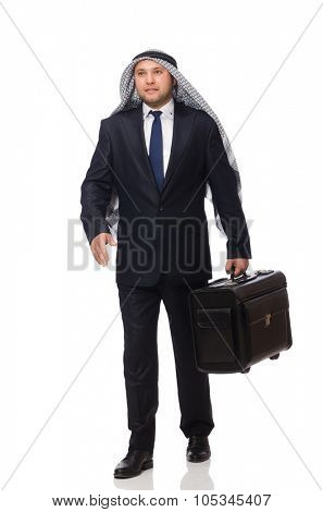 Arab man with luggage on white poster