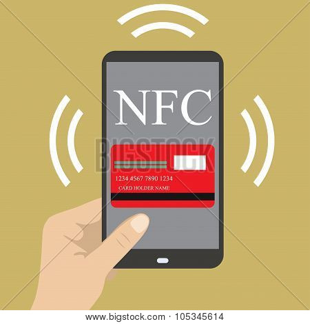 Smart Phone With Credit Card On The Screen And Nfc Radio Flat De