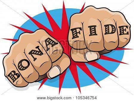 Pop Art Bona Fide Tattoo Fists.