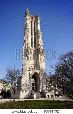 Saint-Jacques Tower on Rivoli street in Paris France.