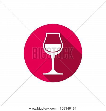Winery Theme, Classic Wine Goblet Isolated On White. Wine Degustation Conceptual Symbol, Vector Desi