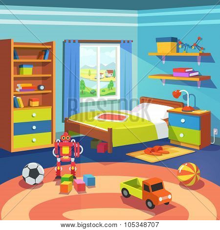 Boy room with bed, cupboard and toys on the floor