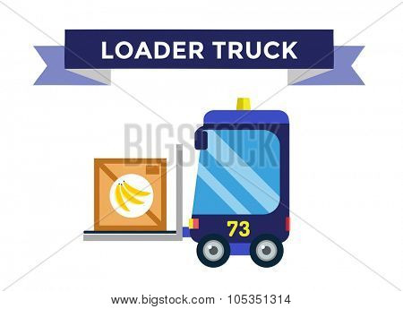Vector forklift loader with wooden boxes. Logistics, delivery, transportation forklift trendy flat illustration. Forklift transport, forklift car, forklift operator loaded, forklift isolated vector