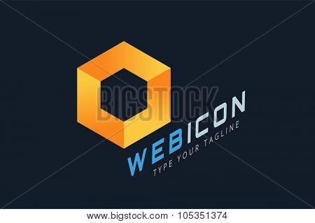 Abstract square logo vector template. Corner geometric shape and symmetric symbol, square icon, box logo or box square shape. Company logo. Geometric design. Square logo. Square design. Square icon