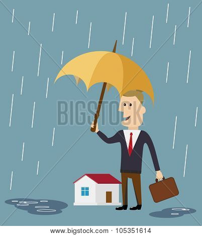 Vector house insurance concept in flat style businessman holding umbrella over house