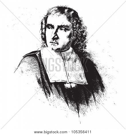 Mr. Boulay, a tailor in the seventeenth century, vintage engraved illustration. Magasin Pittoresque 1867.