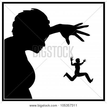 Humorous concept sign of a mean lady chasing a cowardly man trying to escape poster