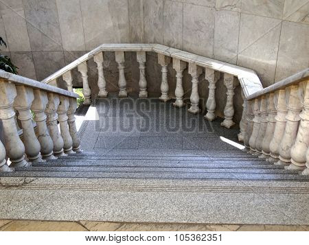 Granite Staircase With Marble Balustrade