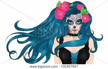 Mexican Sugar Skull makeup long hair Girl