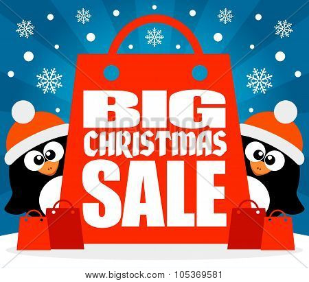 Christmas Big sale background with penguins vector