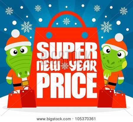 Super New Year Price card with alligator and iguana