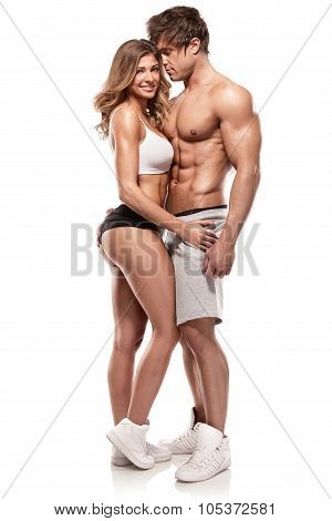 Sexy Couple, Muscular Man Holding A Beautiful Woman