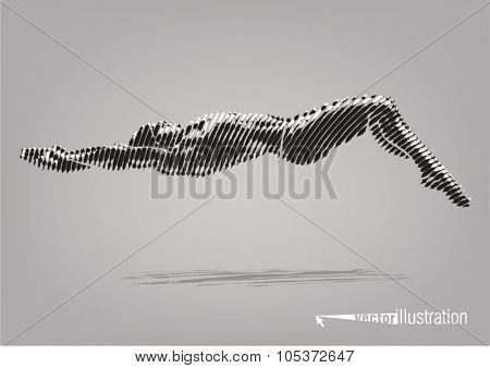Male swimmer on the competition. Vector artwork in the style of ink drawing