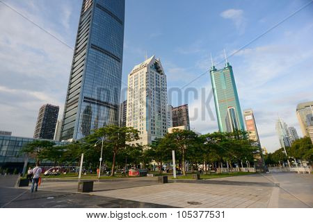 SHENZHEN, CHINA - MAY 28, 2014: The KK100 building. The KK100, formerly known as Kingkey 100 and Kingkey Finance Center Plaza, is a supertall skyscraper in Shenzhen, Guangdong province, China.