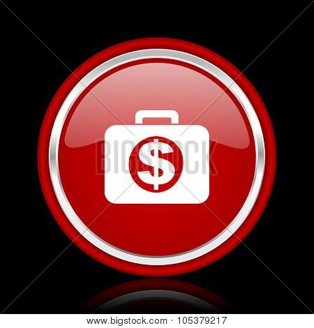 financial red glossy cirle web icon on black bacground