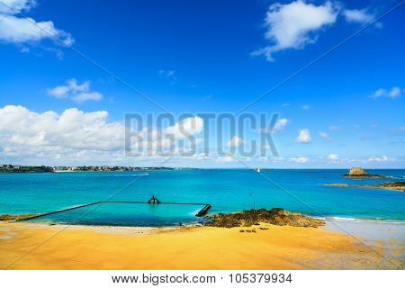 Saint Malo Beach View From Wall Ramparts And Fort. Brittany, France